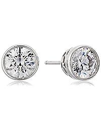 Plated Sterling Silver Swarovski Zirconia Bezel-Set Stud Earrings (2 cttw)