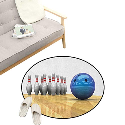 """Bowling Party Round Rug Living Room ,Vivid Objects Ball and Pins on a Parquet Floor Print Party Set Up, Bedrooms Laundry Room Decor 31"""" inch Blue Pale Brown White"""