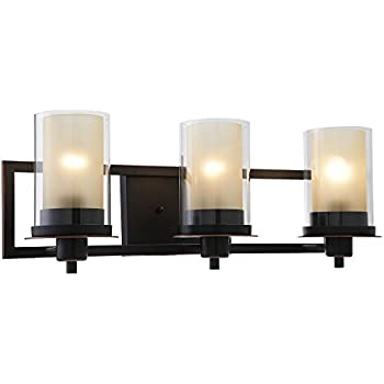 Designers Impressions Juno Oil Rubbed Bronze 3 Light Wall Sconce / Bathroom  Fixture With Amber And
