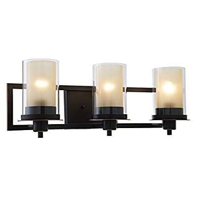 "Designers Impressions Juno Oil Rubbed Bronze 3 Light Wall Sconce/Bathroom Fixture with Amber and Clear Glass: 73473 - Finish: Oil Rubbed Bronze --- Glass: Amber and Clear Height: 8-1/4"" ---- Width: 22"" Bulb Requirements (Not Included): (3) Three Medium Base 60 Watt - bathroom-lights, bathroom-fixtures-hardware, bathroom - 41q2CtF%2BFpL. SS400  -"