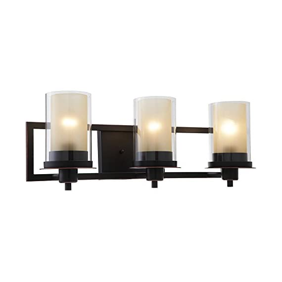 """Designers Impressions Juno Oil Rubbed Bronze 3 Light Wall Sconce/Bathroom Fixture with Amber and Clear Glass: 73473 - Finish: Oil Rubbed Bronze --- Glass: Amber and Clear Height: 8-1/4"""" ---- Width: 22"""" Bulb Requirements (Not Included): (3) Three Medium Base 60 Watt - bathroom-lights, bathroom-fixtures-hardware, bathroom - 41q2CtF%2BFpL. SS570  -"""