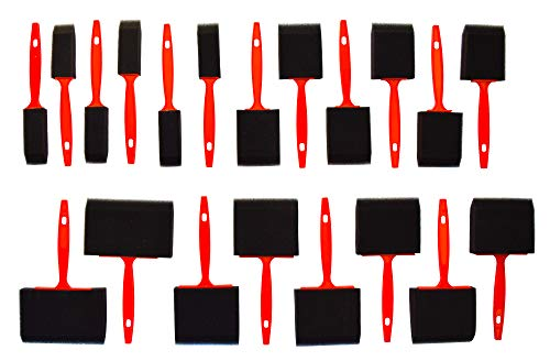 (Value Foam Paint Brush Set (20 Pieces) - 4 Different Sizes - All purpose (Acrylics, Stains, Varnishes, Crafts, Art) - JAK Industrial)