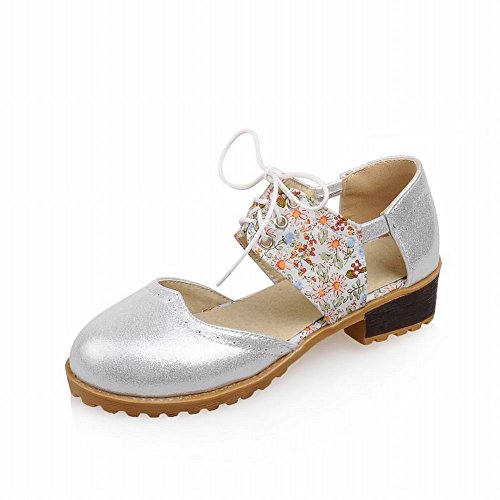 Carolbar Fashion Womens Floral Pattern Casual Shiny Comfort Lace-up Low Heel Sandals Silver UG1LB8a0X