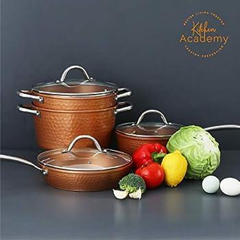Amazon.com: 11pc Navy Blue copper ceramic coated pots and ...