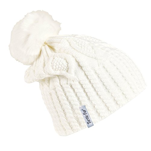 e Women's Fleece Lined Relaxed Fit Pom Winter Hat White (Globe Athletic Cap)
