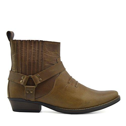 Mens Cowboy Leather Ankle Boots Biker Boots Tan KK4