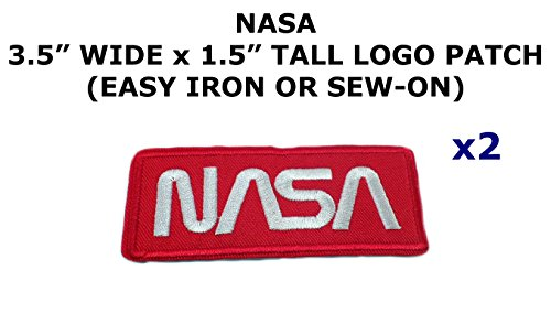 2 PCS NASA Logo Space Theme DIY Iron / Sew-on Decorative Applique Patches