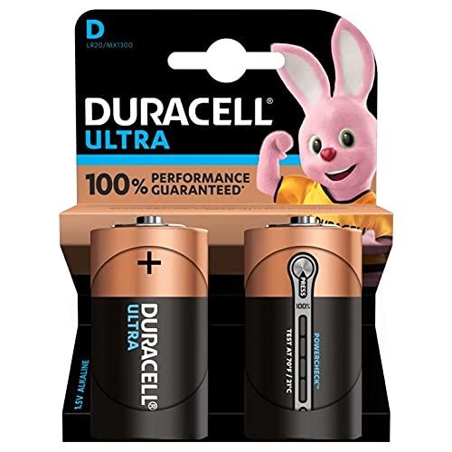 Duracell Ultra D con Powercheck, Pilas Alcalinas (paquete de 2) 1,5 Voltios LR20 MN1300
