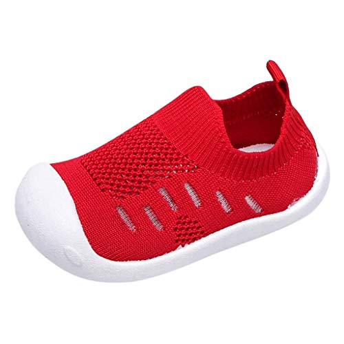 Toddler Infant Kids Boys Girls Sneakers,Candy Color Flying Woven Breathable Light Stretch Cloth Sports Shoes Red