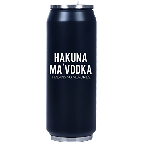 Mad2Order Hakuna Ma Vodka Insulated Fliptop Matte Can-Shaped Water Bottle Black