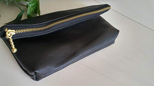 Black Lambskin Leather Zipper Pouch_Handmade