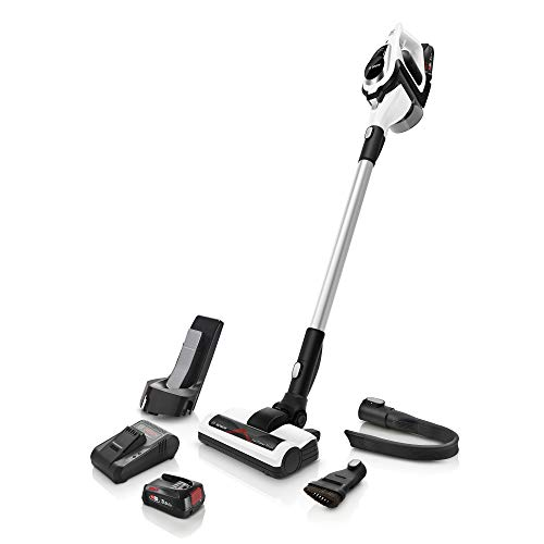Bosch Unlimited Serie | 8 - Rechargeable Cordless and Lightweight Vacuum Cleaner for Multiple Surfaces with Two Interchangeable Bosch Power For All Battery Packs and Quick Charger, in White