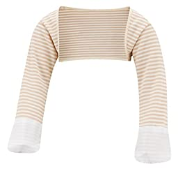 ScratchSleeves | Little Boys\' Stay-On Scratch Mitts Stripes | Cappuccino and Cream | 3 to 4 Years