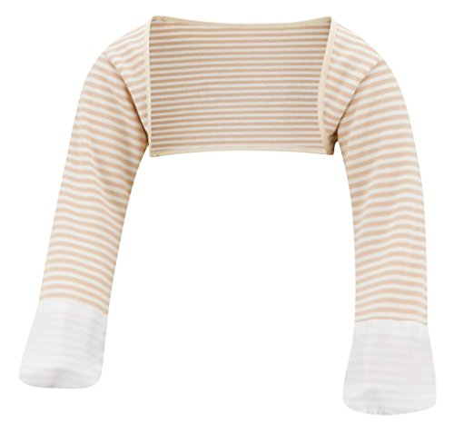 (ScratchSleeves | Baby Stay-On Scratch Mitts Stripes | Cappuccino and Cream | 3-6 Months )