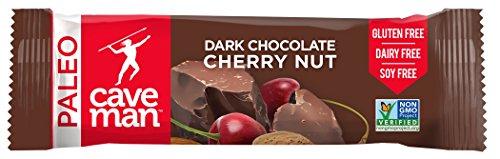 Caveman Foods Paleo Friendly Dark Chocolate Nutrition Bar, Gluten-Free, Cherry Nut, 12 Count ()