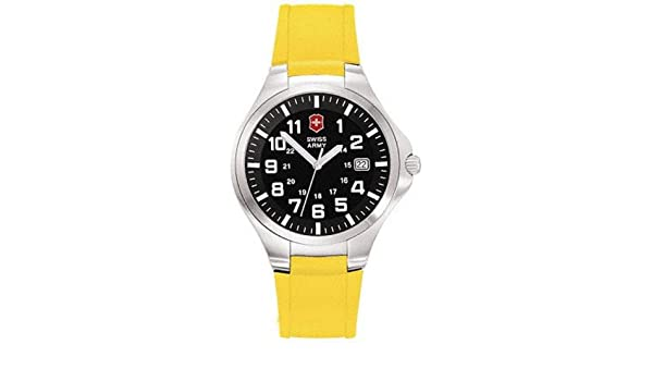 Amazon.com: Victorinox Swiss Army Mens Base Camp Swiss Quartz Stainless Steel and Rubber Sport Watch, Color:Yellow (Model: 24102): Watches