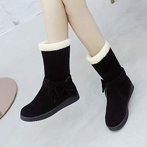 Algodón Cálido Para Invierno Otoño Botas Zapatos Mujer Antideslizante Nieve Arco E Corto Casuales Tubo Black De qnOFxSp