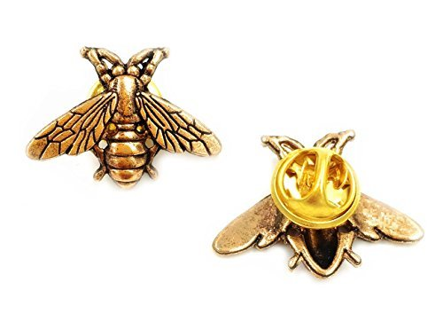 Odette Vintage male metal bees shirt brooch novelty suit and vest pin ( 2Pc Pin)