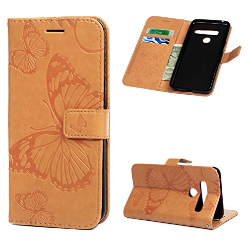 (Badalink Phone Case Compatible with LG G8 ThinQ, Butterfly Embossing Leather Flip Phone Wallet Case with Card Slots, Drop Protection Shockproof Phone Protective Cover - Bisque)
