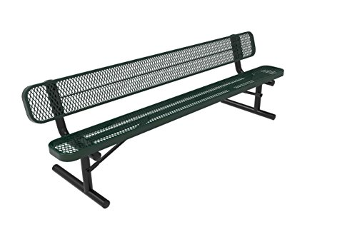Coated Outdoor Furniture B8WBP-GRN Park Bench Back, 8 Feet, Green (8' Expanded Bench Steel)