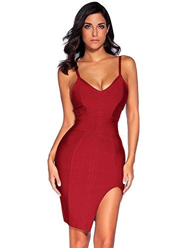 Meilun Womens Deep V Neck Strappy Splitting Club Party Bandage Dress (XS, Wine) ()