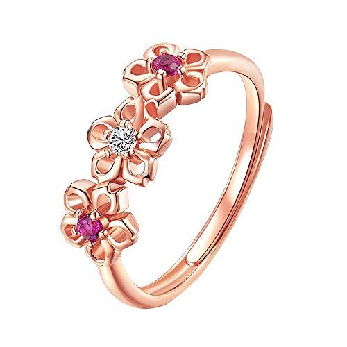 Sinwo Women Adjustable Ring Diamond Plum Blossom Ring Silver Pretty Lady Crystal Princess Ring (Rose Gold)