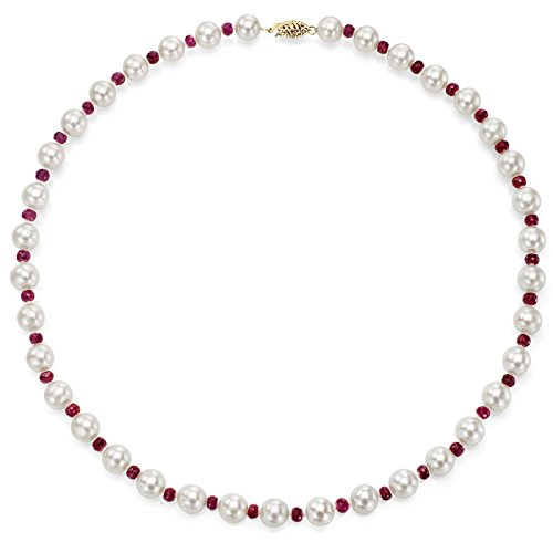 14k Yellow Gold 8-8.5mm White Freshwater Cultured Pearl and 4-4.5mm Simulated Red Ruby Necklace, - 14k Pearl Gold Ruby