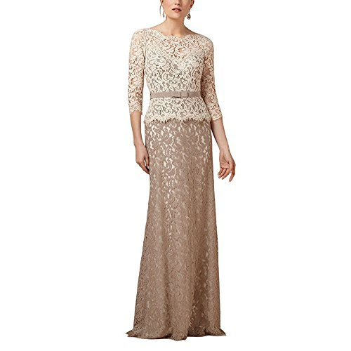 SDRESS Women's Crewneck 3/4 Sleeve Long Mermaid Lace Mother Bridesmaid Dress Multi Color Size 10