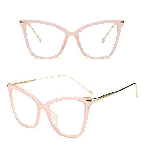 Oversize Clásico Transparente Fuyingda Retro Gato de Ojo Transparente Gafas Moda Rosa Mujer Gafas de Sol 66zYTx