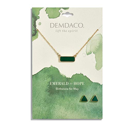 (DEMDACO May Emerald Women's Natural Stone Gold-Plated Birthstone Necklace & Earrings)