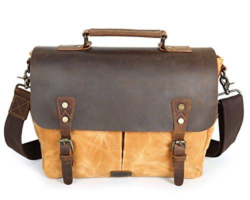 Briefcase Wax Canvas Orange Waterproof Messenger Portable Leather Men's Crazy Oil Bag Shoulder Retro 6wZvnqSat
