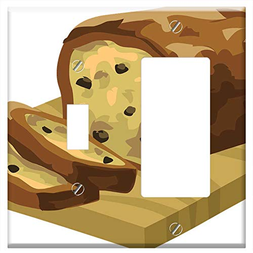 1-Toggle 1-Rocker/GFCI Combination Wall Plate Cover - Bread Snacks Foods Loaf Slices Brown Yellow ()