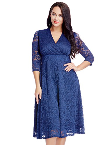 Women's Lace Plus Size Mother of the Bride Skater Dress Bridal Wedding Party Royal Blue 22W
