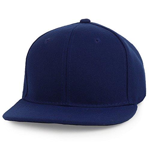 - Trendy Apparel Shop Infant to Toddler Kid's Plain Structured Flatbill Snapback Cap - Navy