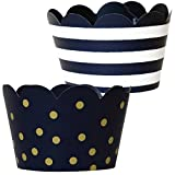 Dark Navy Blue and Gold Cupcake Wrappers Party Supplies, 36, Nautical Theme Baby Shower Liners for Boy, Midnight Stripe Birthday Party Decorations, Polka Dot Cup Cake Holder, Confetti Couture