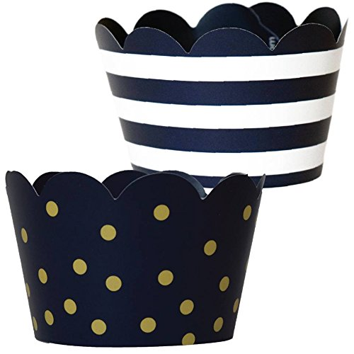 Nautical Baby Shower Party Supplies, 36, Dark Navy Blue and Gold Wedding Cupcake Wrappers, Military Retirement, Police Birthday Party Decoration, Polka-Dot Stripe Cup Cake Liner B-Day Favor Bag Holder