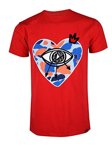 SCREENSHOTBRAND-S11914 Mens Hip-Hop Ultra Premium Tee Longline Street Art Embroidery Patch T-Shirt-Red-Large