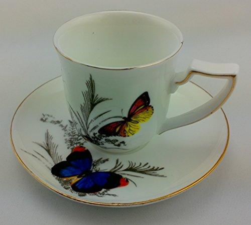 Grace Tea Ware Butterflies Fine Porcelain Espresso Cups and Saucers Set of 6 & Grace Tea Ware Butterflies Fine Porcelain Espresso Cups and Saucers ...