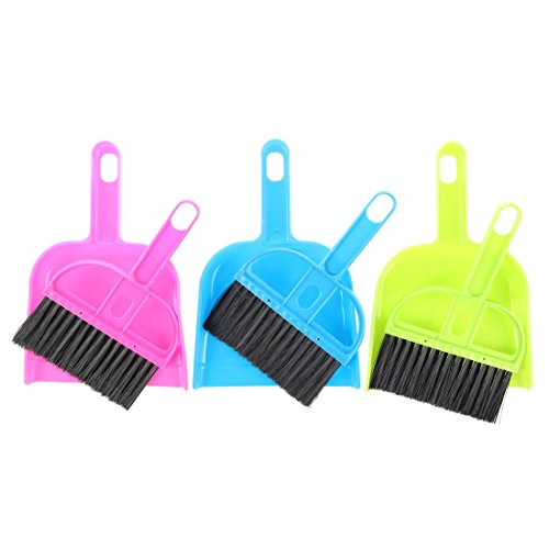 TOOGOO(R) Car Keyboard Cleaning Whisk Broom Dustpan Set 3 Pcs Assorted Color