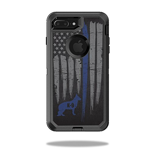 MightySkins Protective Vinyl Skin Decal for OtterBox Defender iPhone 7 Plus Case wrap cover sticker skins Thin Blue Line - Black Blue And Youtube