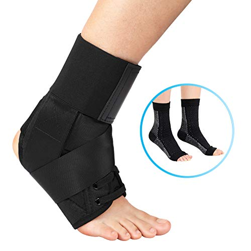 DOACT Ankle Support for Men and Women, Lace Up Ankle Brace for Sprained Left Right Foot, with Side Stabilizer Protector and 1 Pair Compression Socks, for Achilles Tendonitis Joint Injury and Recovery