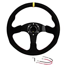 Homelix 350mm lack Leather Stitch Sport Racing Steering Wheel