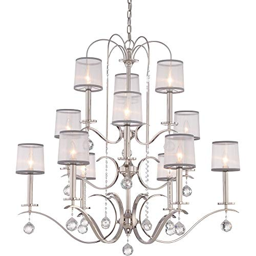 Quoizel WHI5012IS Whitney Crystal Foyer Chandelier, 12-Light, 720 Watts, Imperial Silver (38