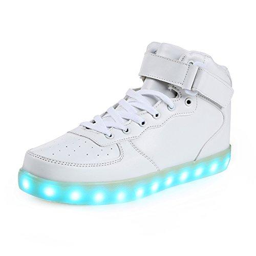 SAGUARO® 7 Farben LED Schuhe USB Aufladen Leuchtschuhe Licht Blinkschuhe Leuchtende Sport Sneaker Light Up Turnschuhe Damen Herren Kinder, Rot 38