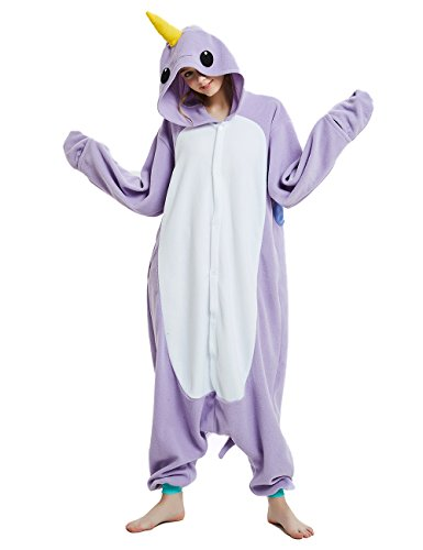 cosMonsters Adult Narwhal Animal Onesie Pajamas for Girls and Boys Christmas Cosplay Costume(Purple,Large)