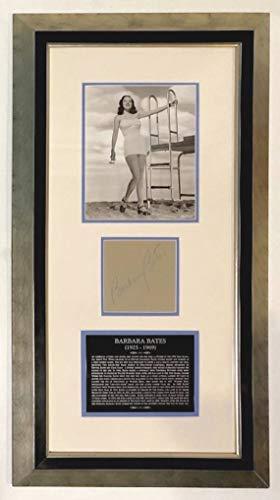 Vintage Signed Hand (Framed BARBARA BATES Autographed Vintage Hand SIGNED Album Page 1948 Vintage 8x10 Photo)
