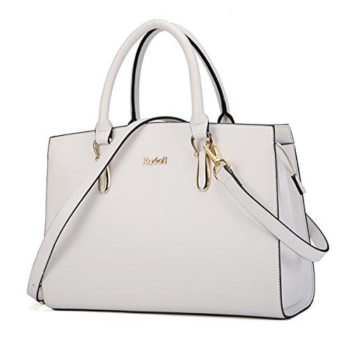White Leather Handbags - 7