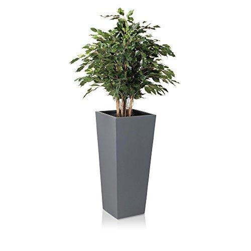 Pflanzkübel Blumenkübel CONO PLAZA Fiberglas Pflanztopf - Farbe: grau matt - robuster, UV-, wetter- und frostbeständiger, hoher Blumentopf für den Garten, Innen- & Außenbereiche