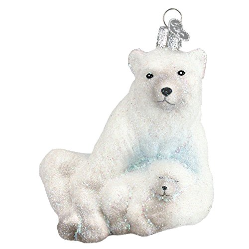 Old World Christmas Ornaments: Polar Bear with Cub Glass Blown Ornaments for Christmas Tree