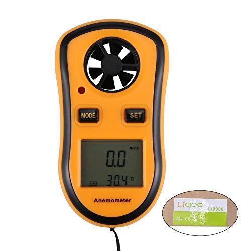 Liqoo® Digital Anemometer Windmesser Handwindmesser Luftvolumenmess Meter Luftvolumen Messer mit LCD Hintergrundbeleuchtung Tragbar